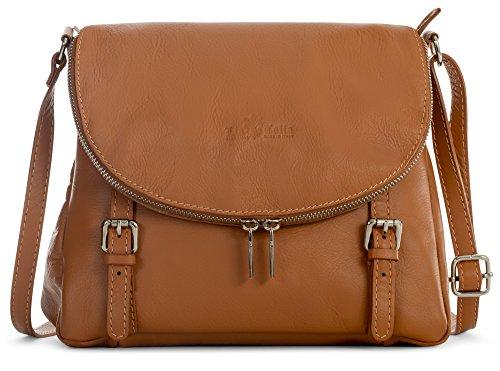 Medium Tuscan Light Stella Leather Handbag Tan Genuine Buckle Soft LiaTalia Shoulder Italian Body Cross Effect gqdnBw