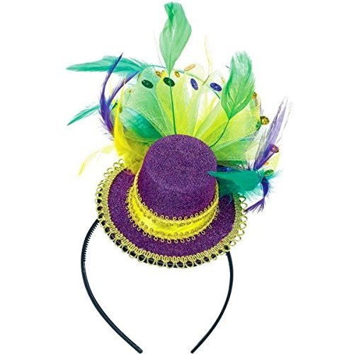 Amscan Mardi Gras Feathered Top Hat Headband (1 Piece), Multi Color, 10 x 6