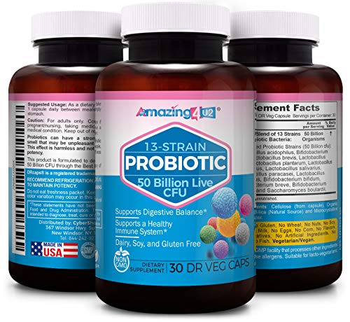 Amazing 4U2 Probiotics 50 Billion 13 Strains. Best Probiotic Supplement for Women and Men. Once Daily, 30 Delayed-Release Capsules. Relieve IBS Constipation Diarrhea Colitis UTI Yeast Vaginal Health
