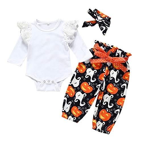 Loom Bands Halloween Ghost (Zlolia 3PCS Clothes Set Newborn Toddler Baby Girl Romper Headband Ghost Halen Pants Halloween Outfit Clothes)