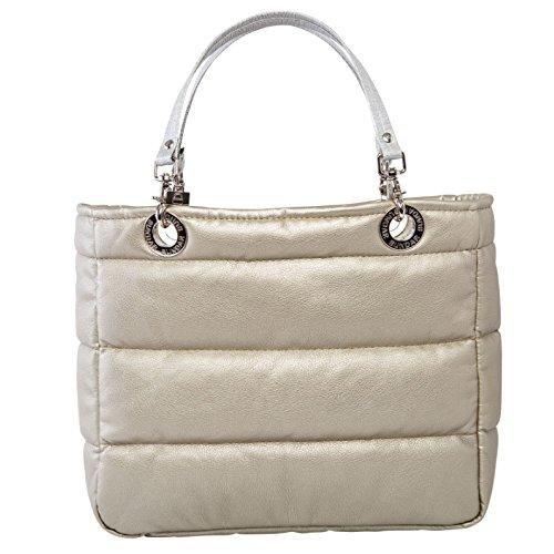 Bolsa para mujer marca Sundar ® Basica color Dorada c/cierre asas Plata Tradicional