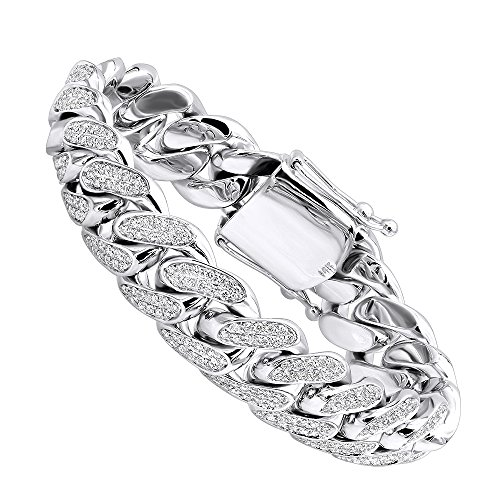 Wide Link Diamond Bracelet (Solid 14k Gold Miami Cuban Link Diamond 17mm Wide Bracelet For Men 9ctw G-H color (White Gold))