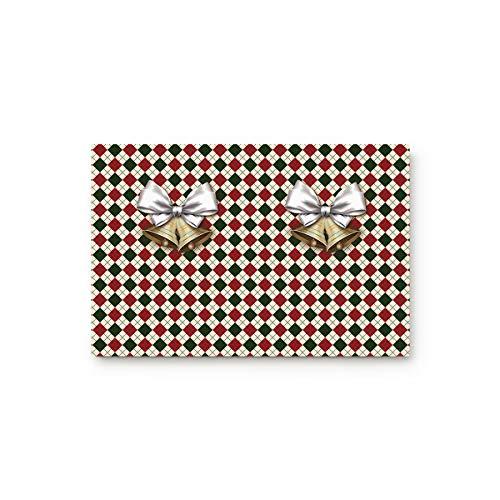 - MUSEDAY Holiday Theme Entryway Door Rug Floor Mat 16x24inch Golden Bells Classic Grid Background Xmas Design Doormat Indoor Shoe Scraper Rubber Entrance Mat for Living Dining Dorm Room