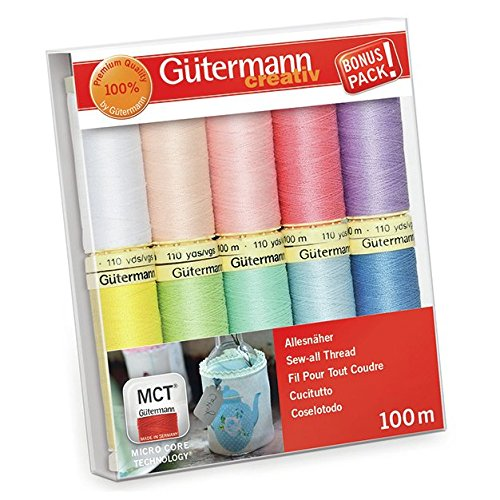 - Gutermann Sew-All Pastels Set 100% Polyester Thread Set 10 x 100m Reels