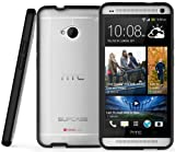 SUPCASE Premium Hybrid Protective Case for HTC One M7 Smartphone (Black/Clear) - Multiple Color Options
