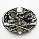 Pewter Belt Buckle - Cowboy Skull - Pewter Belt Buckle