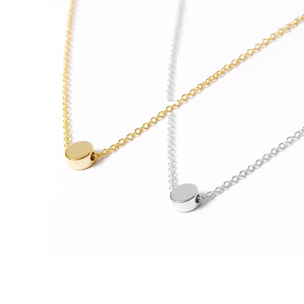 Valloey Rover Gold Star Necklace,Dainty 14K Gold Filled Sterling Silver Round Dot Tiny Heart Little Star CZ Choker Necklace Jewelry Gift for Women