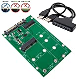 SHINESTAR 2-in-1 NGFF or mSATA SSD to SATA 3.0 or USB Adapter Converter Card with Cable, Support Mini SATA Hard Drive or M.2 B Key HDD