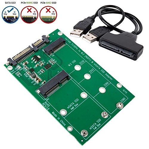 SHINESTAR 2-in-1 NGFF or mSATA SSD to SATA 3.0 or USB Adapter Converter Card with Cable, Support Mini SATA Hard Drive or M.2 B Key HDD by SHINESTAR