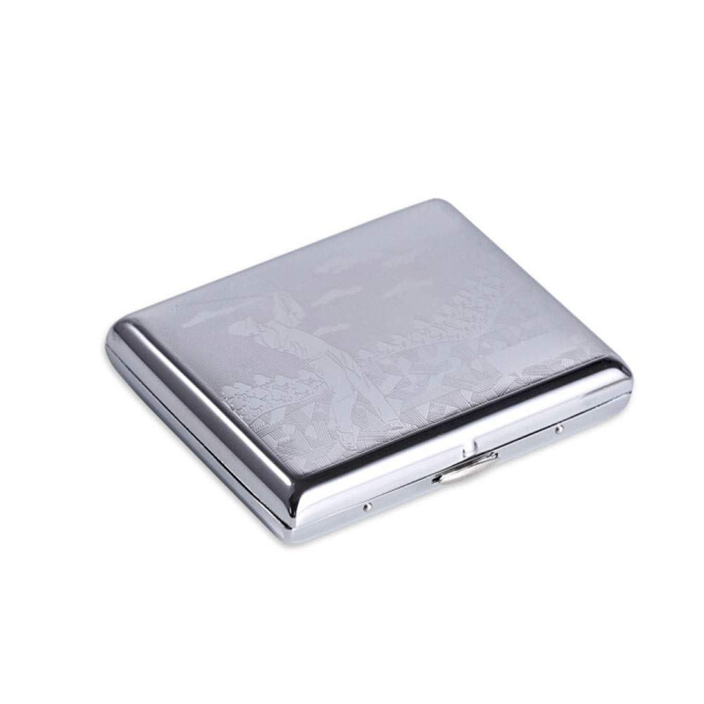 ZHONGYUE Cigarette box, portable automatic spring open stainless steel personality waterproof and moisture-proof men's creative silver cigarette case, 18 pieces of brass bright silver various patterns