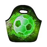 FOR U DESIGNS Neoprene Lunch Box Heat Pack 3D Soccer Pattern Children Boys School Lunchbag