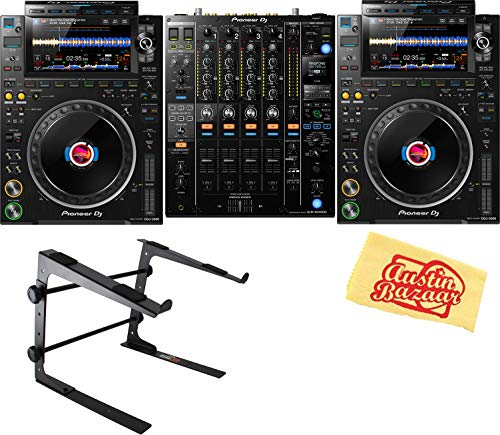 Pioneer CDJ-3000 Professional DJ Multi Player Bundle with 2 x CDJ-3000, 1 x Pioneer DJM-900NXS2 4-Channel Mixer, Stand, and Austin Bazaar Polishing Cloth - Black