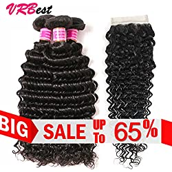 VRBest Brazilian Deep Wave 100% Unprocessed Virgin Brazilian Hair 3 Bundles with Closure Deep Curly Human Hair Extensions Natural Color (10 12 14+10)