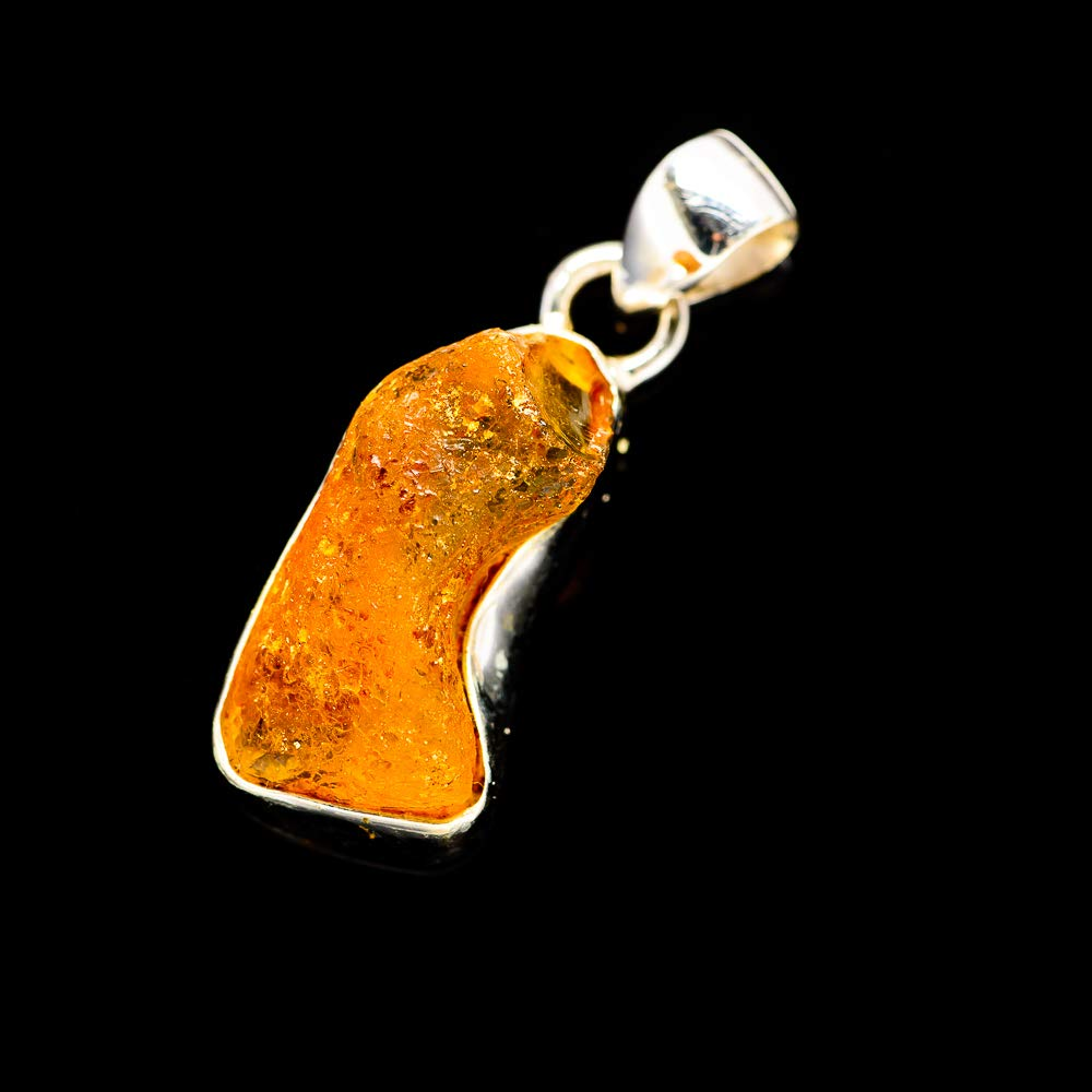 Vintage PD689001 - Handmade Jewelry Ana Silver Co Rough Amber Pendant 1 1//4 Bohemian 925 Sterling Silver