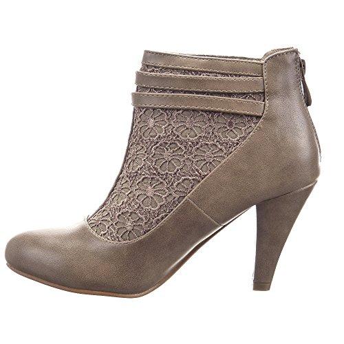 Moda CM correa Taupe Low Tacón 9 plantilla mujer Stiletto Tobillo de escarpín textil boots multi Sopily Zapatillas encaje Epqw6TY7