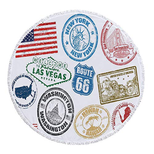 iPrint Thick Round Beach Towel Blanket,United States,Grunge Stamps of America Las Vegas New York San Francisco Hawaii Illustration,Multicolor,Multi-Purpose Beach Throw by iPrint