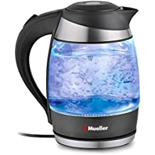 Mueller Austria Electric Kettle Water Heater with SpeedBoil Tech, Glass Tea, Coffee Pot 1.8 Liter Cordless with LED Light, Borosilicate BPA-Free with Auto Shut-Off, and Boil-Dry Protection