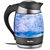 kettle germany - Mueller Austria Electric Kettle Water Heater with SpeedBoil Tech, Glass Tea, Coffee Pot 1.8 Liter Cordless with LED Light, Borosilicate BPA-Free with Auto Shut-Off, and Boil-Dry Protection