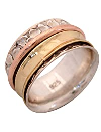 "Energy Stone ""AGILITY"" Flat Bubble Bold Brass and Rounded Copper Spinners Meditation Ring (Style SR28)"