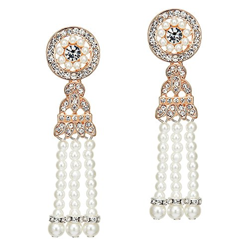 BABEYOND 1920s Flapper Art Deco Gatsby Earrings 20s Flapper Gatsby Accessories (Style 4-Rose Gold)