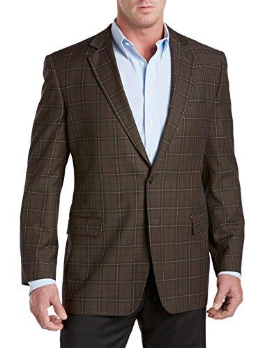 [Oak Hill Big & Tall Windowpane Sport Coat (3XTall, Olive)] (Coat Olive Windowpane)