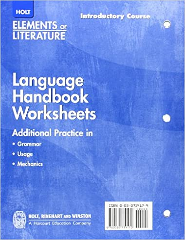 Free Worksheets education com free worksheets : Holt Elements of Literature: Language Handbook Worksheets ...
