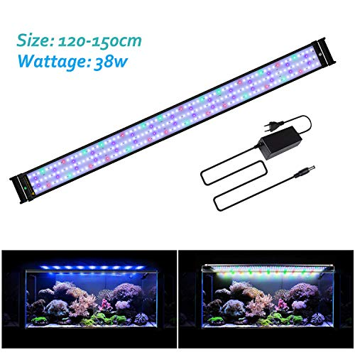 Joyhill LED Full Spectrum Aquarium Lights,Fish Tank Light with Extendable Brackets,Suitable for Aquatic Reef Coral Plants and Fish Keeping 38W (Fit 116cm-136cm/46-54 inch)