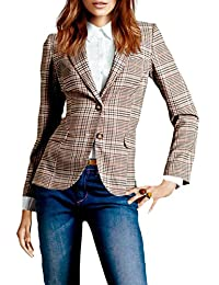 Women Casual British Suit Collar Plaid Checked Slim OL Blazer Jacket