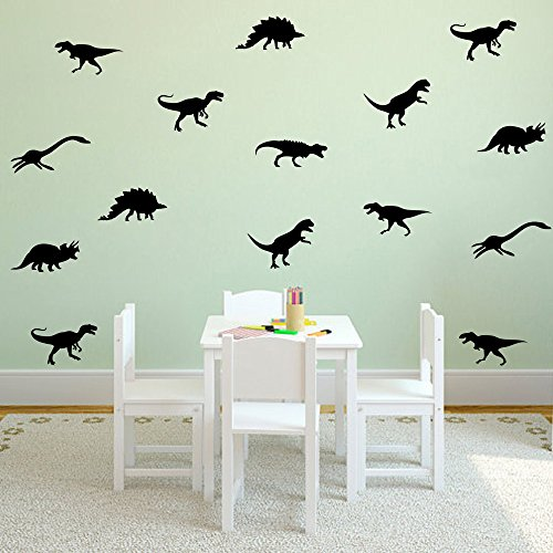 HACASO 27 PCS 7.4 by 2.3 Inches Dinosaurs Wall Decal Sticker For Kids Bedroom Decor -DIY Home Decor Vinyl Dinosaurs Mural Baby Nursery Room (Dinosaur Wallpaper Mural)