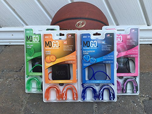MOGO. Flavored 2 Pack Mouth Guards - Adult Sports Mouthguard for Ages 11 and Up - Mouthpiece for MMA, Football and Lacrosse - Tether Strap, Fitting Instructions and Carry Case (Fruit Punch) by MOGO. (Image #1)