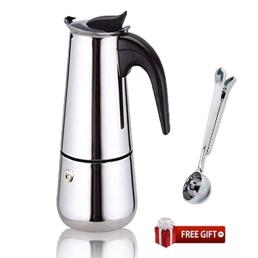 Espresso Coffee Maker Pot Stovetop Moka Coffee Pot Stainless Steel Latte Percolator with Bonus Scoop (4 cups/200ml)