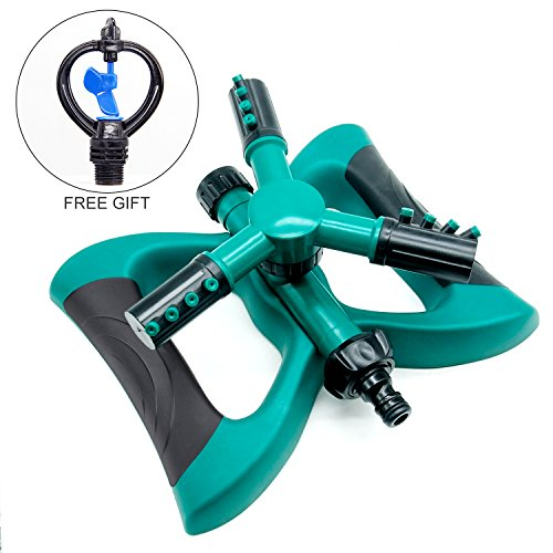 - Blisstime Lawn Sprinkler, Automatic 360 Rotating Adjustable Garden Water Sprinklers Lawn Irrigation System Covering Large Area with Leak Free Design Durable 3 Arm Sprayer, Easy Hose Connection
