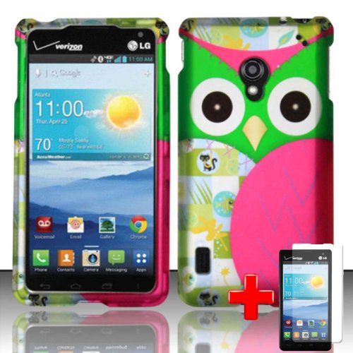 LG-Lucid-2-VS870-Verizon-Snap-On-Rubberized-Image-Case-Pink-Green-Owl-Quilt-Pattern-Cover-LCD-Clear-Screen-Saver-Protector