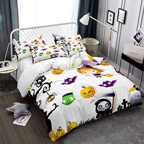 Junsey Cartoon Pumpkin Bedding Set Grim Reaper Witch Printed Duvet Cover Kids Halloween Bedding King Size ()