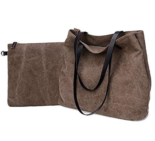 Suede Patchwork Bag (Mfeo Women's Casual Handbag Big Shopping Bags Canvas Shoulder Bags 2 Sets)