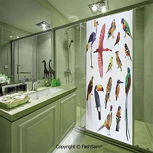 PUTIEN Door Glass Sticker Colored Collection of Bird Set with Poly Design Triangle Mosaic Illustration for Living for Bedroom Glass Privacy(W23.6xL78.7)
