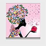 Fly Fairy Children's Room Decoration Painting Ice Crystal Glass Crystal Painting Cartoon Wall Home Decorations (Size : 4040cm)