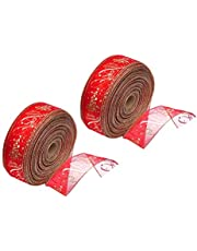 2 Rolls Christmas Tree Ribbon Printed Packing Rope Belt Ribbon for Christmas Gift (Red)