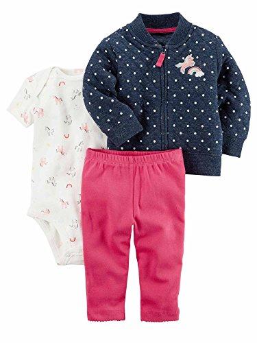 Baby Dot Jacket Polka - Carter's®. Baby Girls 3-Piece Set - Jacket, Bodusuit, Pants (24M, Polka Dot/Unicorn)