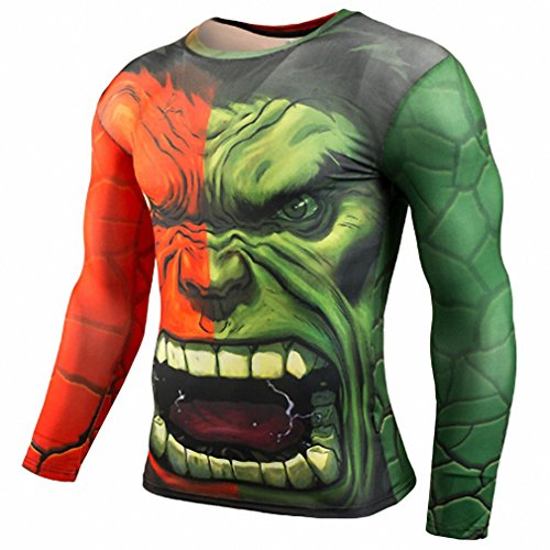 T shirt Compression Shirt Crossfit T-shirt Men Lycra 3D Print Long Sleeve T shirt Fitness Brand Clothing Plus Size TC32 (Tupac Costume)