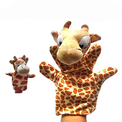 Hot 2Pcs (1 Big+1 Small) Lovely Kids Baby Plush Toys Finger Puppet Props Animals Hand Puppets^DB02916.
