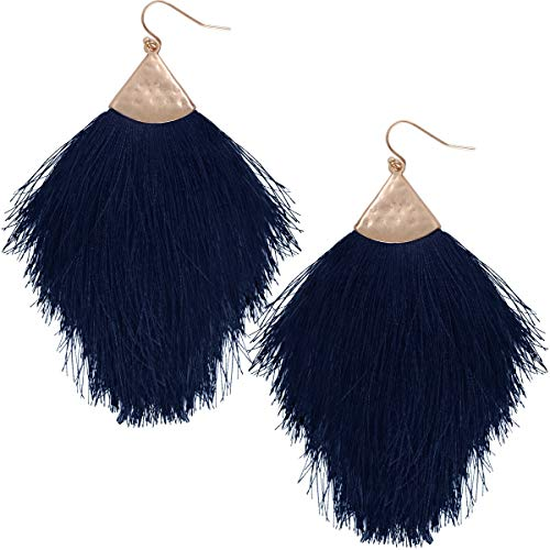 Navy Fringe - Humble Chic Fringe Tassel Statement Dangle Earrings - Lightweight Long Feather Drops, Navy Blue, Gold-Tone