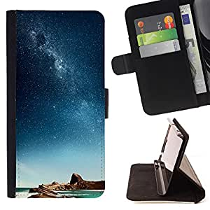 King Air - Premium PU Leather Wallet Case with Card Slots, Cash Compartment and Detachable Wrist Strap FOR Apple iPhone 6 6S Plus 5.5- Space Stars
