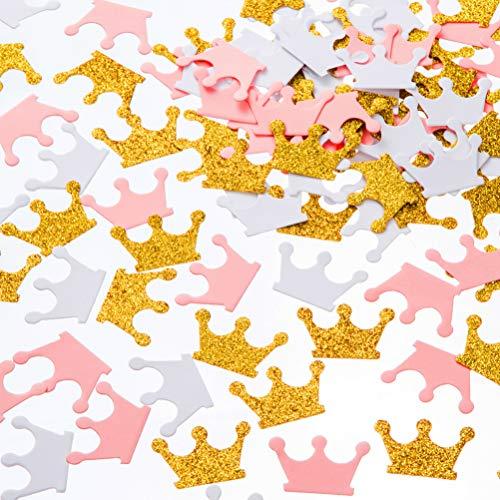 MOWO Glitter Crown Confetti Table Decor and Party Wedding Event Decor, Gold Glitter,Pink,White, 200 Count