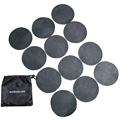 Workoutz Agility Dots (12 Qty, Black) with Drawstring Carrying Bag by Workoutz