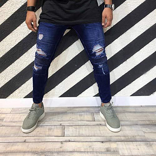Absolute Azul fit Biker Denim Pantalones Jeans Fit Casual Slim Pantalones Hombre Skinny elásticos Vaqueros ♚ Pants triturados Chandal Jeans Deshilachado Hombre Slim Pantalón Hombre Ripped PwgSI