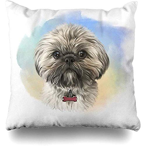 Throw Pillow Cover Watercolor Baby Shih Tzu Chrysanthemum Celebration Dog Realistic Imperial Color Design Contemplation Home Decor Zippered Case Square 18 x 18 Inches Cushion Pillowcase