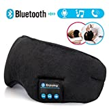 Bluetooth Sleep Mask Wireless Headphones; Comfortable Super Soft Adjustable Strap;Eye Cover Music Bluetooth Headsets Blindfold Microphone iPhone Android Cell Phones iPad Tablets Washable Black