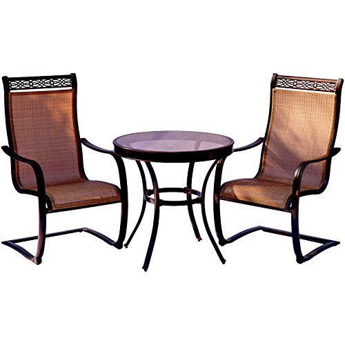 Hanover Monaco 3 Piece Bistro Set with Spring Sling Chairs (Back Patio Sling Chairs High)