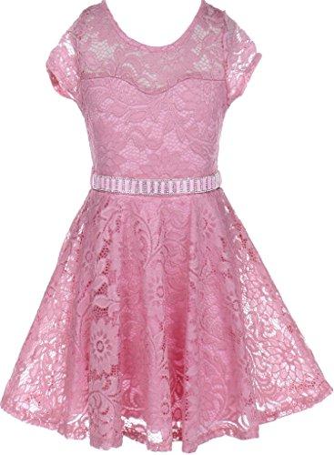 Flower Girl Dress Cap Sleeve Jewel Belt Floral Lace All Over for Big Girl Rose 12 (Pink Jewel Neck Rhinestone)